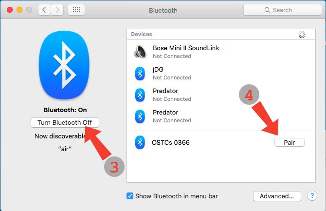 9c  Bluetooth on MacOS - ostc-planner net